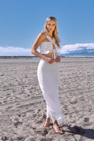 2 Pc Off White Boho Crop Top & Maxi Skirt