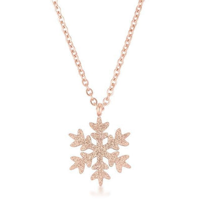 Jenna Rose Gold Stainless Steel Rose Gold Snowflake Necklace - Higher Class Elegance