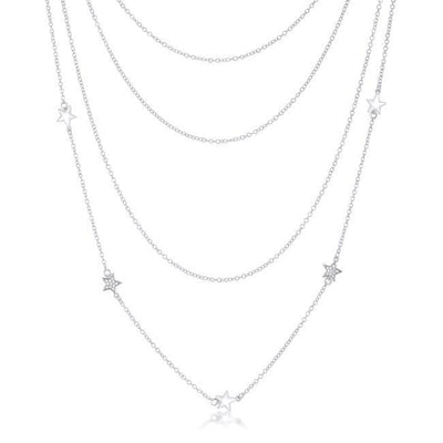Multi-Chain Rhodium Star Necklace with CZ - Higher Class Elegance