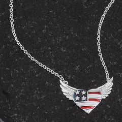 .14 Ct Patriotic Winged Heart Necklace with CZ Accents - Higher Class Elegance