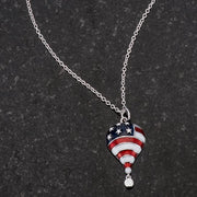 .1 Ct Patriotic Hot Air Balloon Rhodium Necklace with CZ - Higher Class Elegance