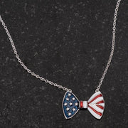 .025 Ct Stars and Stripes Bow Tie Necklace with CZ - Higher Class Elegance