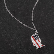 .015 Ct Patriotic U.S. Map Necklace - Higher Class Elegance