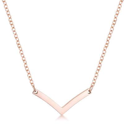 Stainless Steel Rose Goldtone Chevron Necklace - Higher Class Elegance