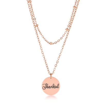 Delicate Rose Gold Plated Thankful Necklace - Higher Class Elegance