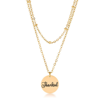 Delicate 18k Gold Plated Thankful Necklace - Higher Class Elegance