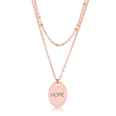 Rose Gold Plated Double Chain HOPE Necklace