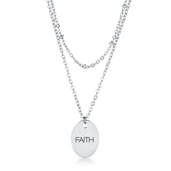 Stainless Steel Double Chain FAITH Necklace
