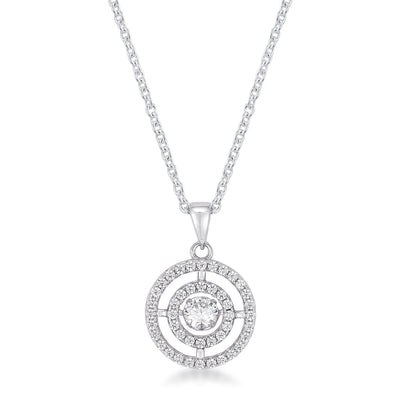 .9Ct Timeless Rhodium Plated Double Pave Circle Dancing CZ Pendant - Higher Class Elegance
