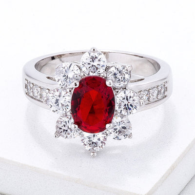 Ruby Red Oval Floral Cocktail Ring