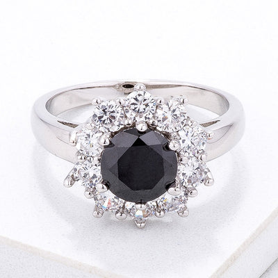 Black and White Halo Cocktail Ring - Higher Class Elegance