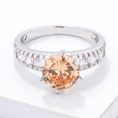 Simple Champagne CZ Engagement Ring