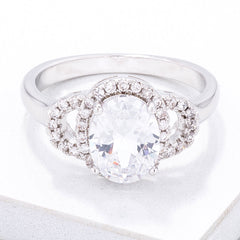 Exquisite Clear Oval Pave Engagment Ring - Higher Class Elegance