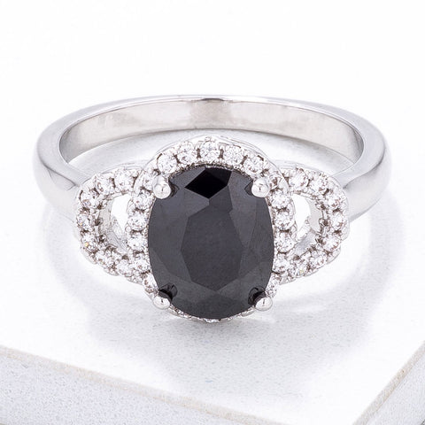 Exquisite Black Oval Pave Mini Cocktail Ring - Higher Class Elegance