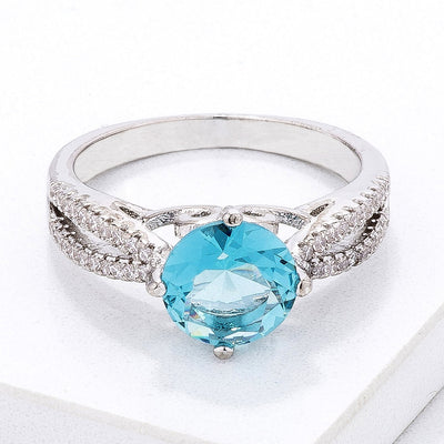 Delicate Pave Shoulder Ice Blue CZ Ring - Higher Class Elegance