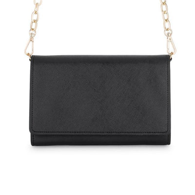 Carly Black Leather Purse Clutch With Gold Chain Crossbody - Higher Class Elegance
