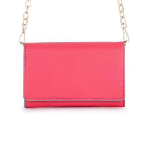 Carly Coral Leather Purse Clutch With Gold Chain Crossbody - Higher Class Elegance
