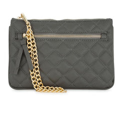 Alexis Grey Quilted Faux Leather Clutch With Gold Chain Wristlet - Higher Class Elegance