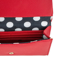 Laney Red Pebbled Faux Leather Clutch With Gold Chain Strap