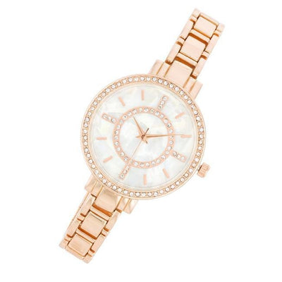 Classic Metal Watch With Crystals - Higher Class Elegance