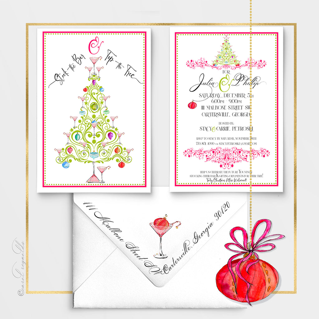 """Top the Tree"" Christmas Invitation"