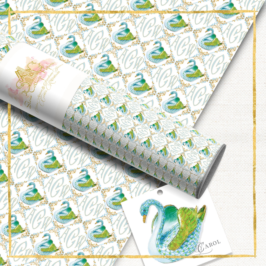 Monogrammed Summer Swan Wrapping Paper: Aqua