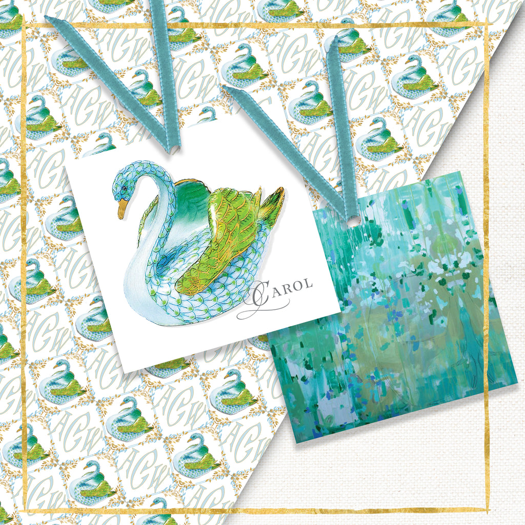 Personalized Swan Gift Tags: Aqua
