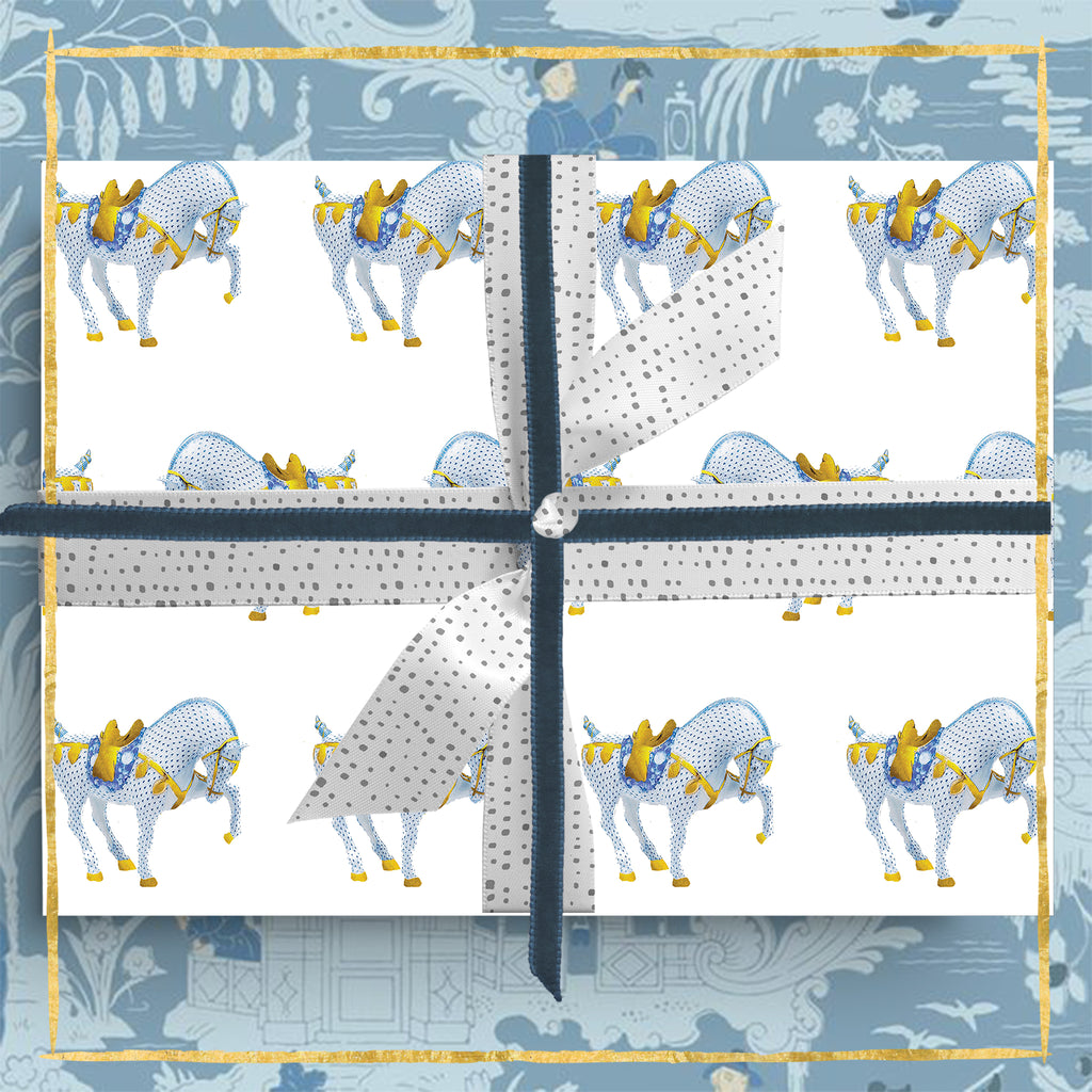 Chinoiserie War Horse Wrapping Paper
