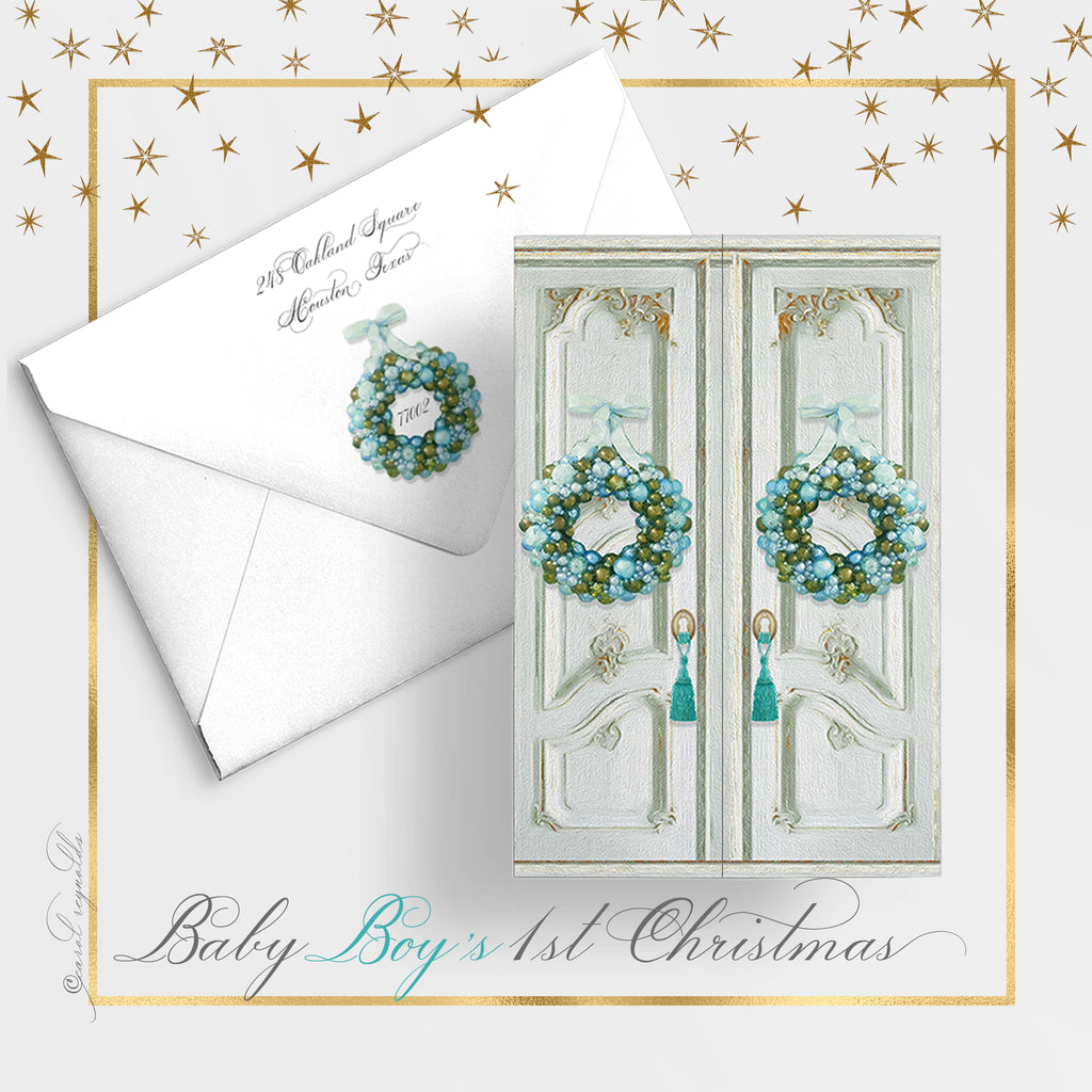 """Baby Boy's 1st Christmas"" Christmas Card"