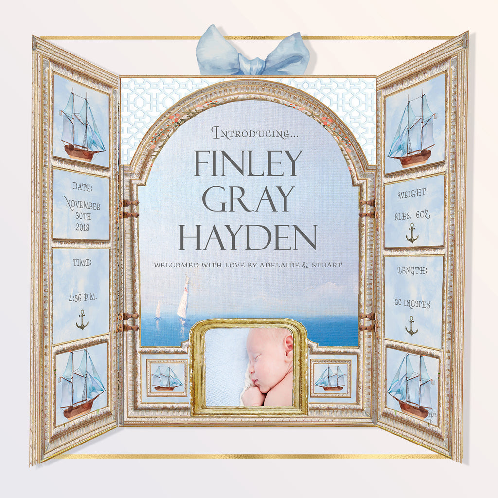 """Nursery Armoire"" Birth Announcement for Baby Boy"
