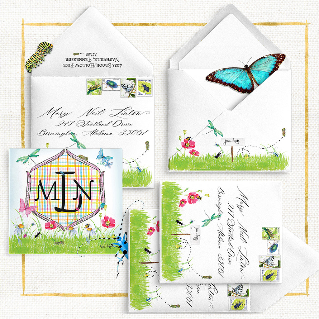 June Bug Monogrammed Notecards