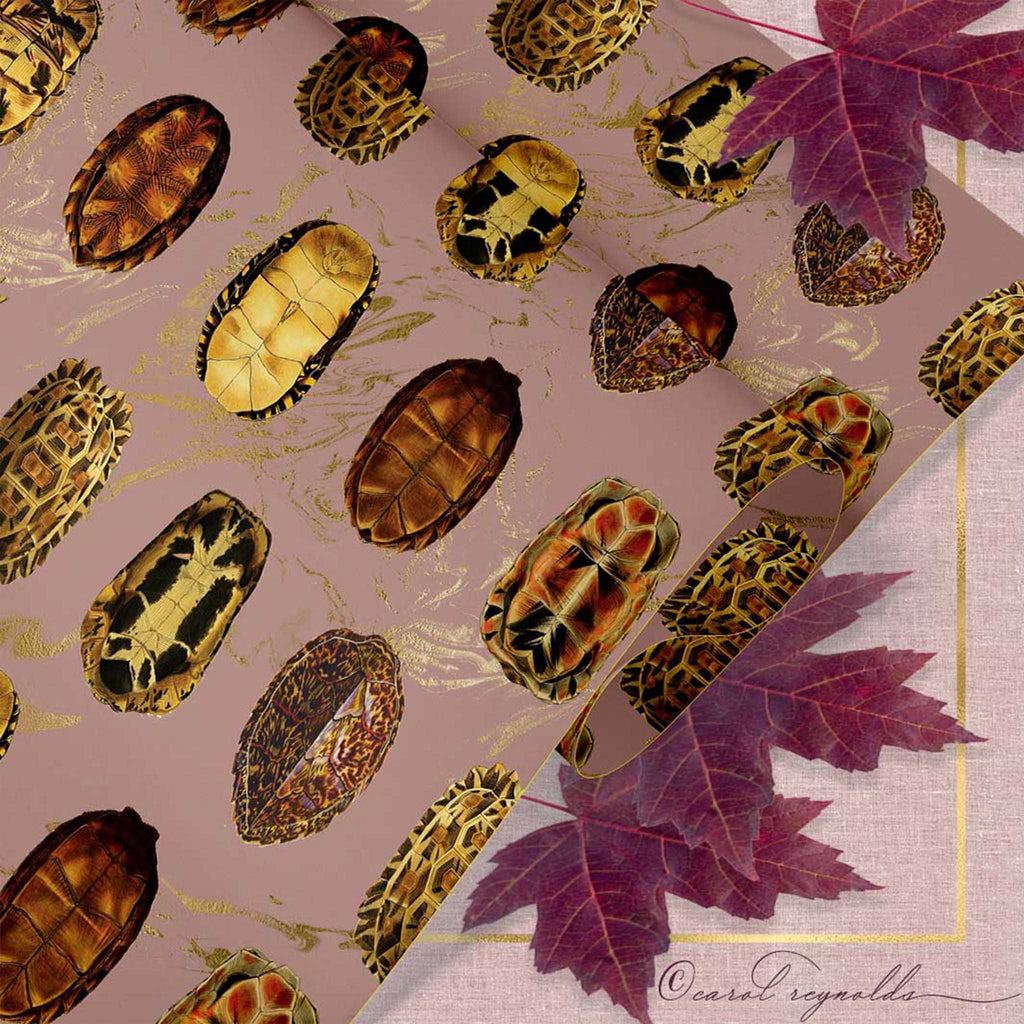"""La Tortue"" Wrapping Paper in Mauve"