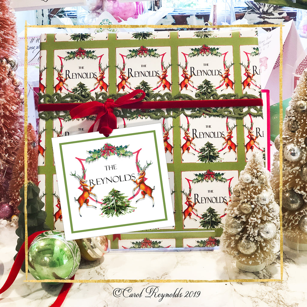 "Personalized ""Holiday Crest"" Christmas Wrapping Paper"