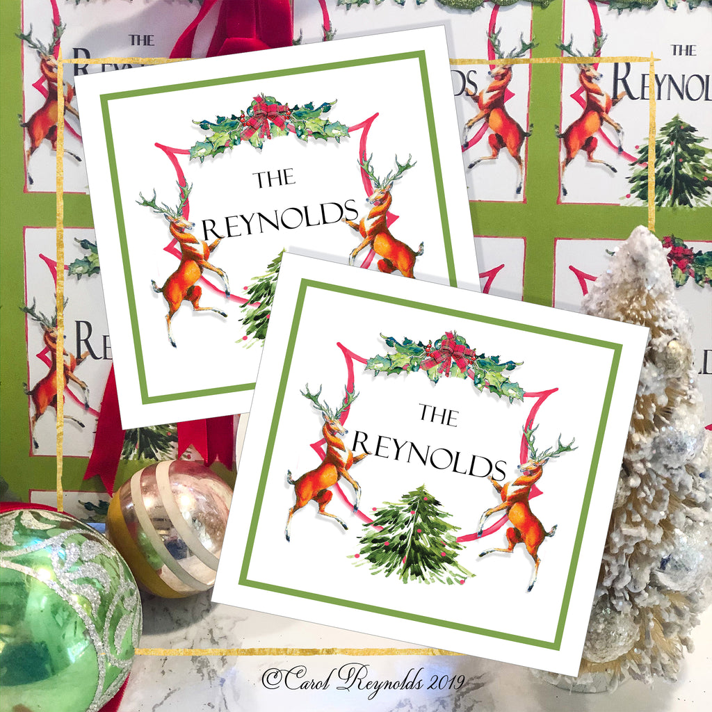 "Personalized ""Holiday Crest"" Christmas Gift Tags"