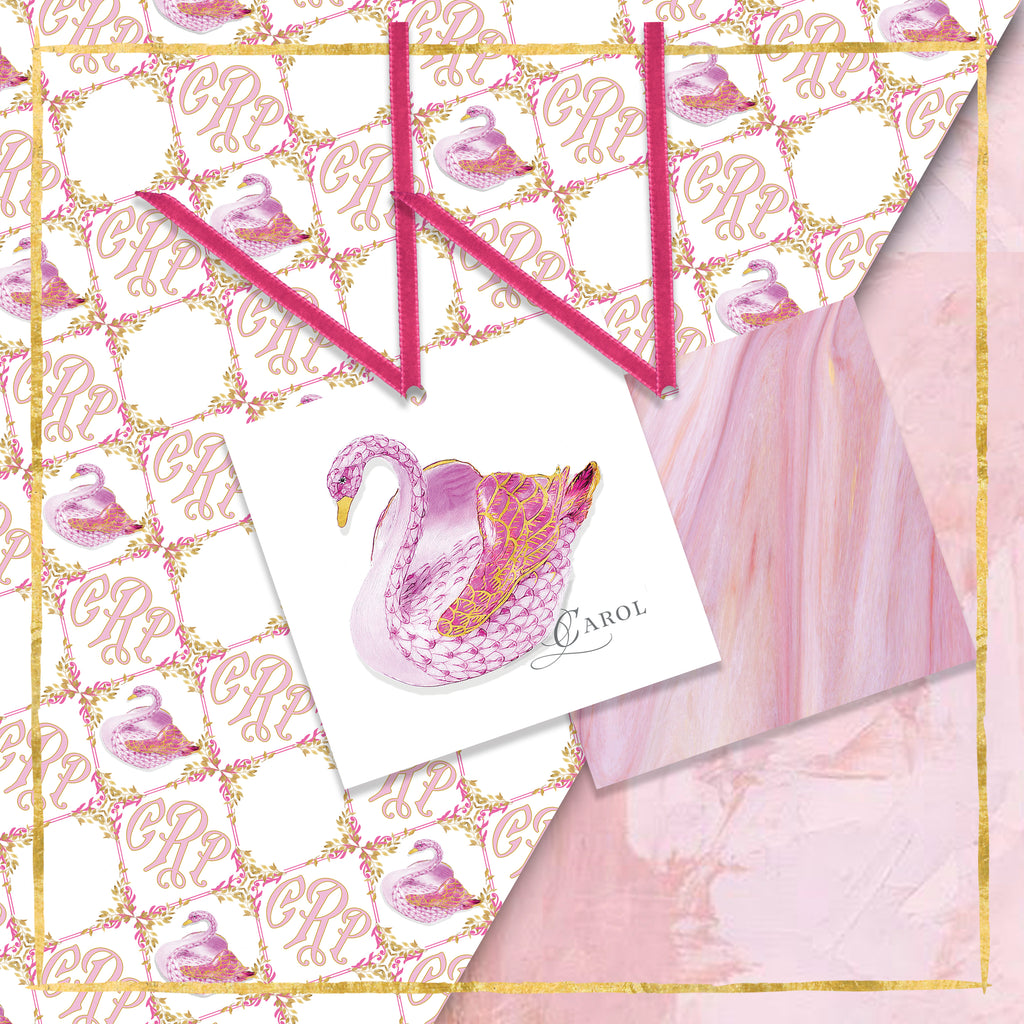 Personalized Summer Swan Gift Tags: Pink