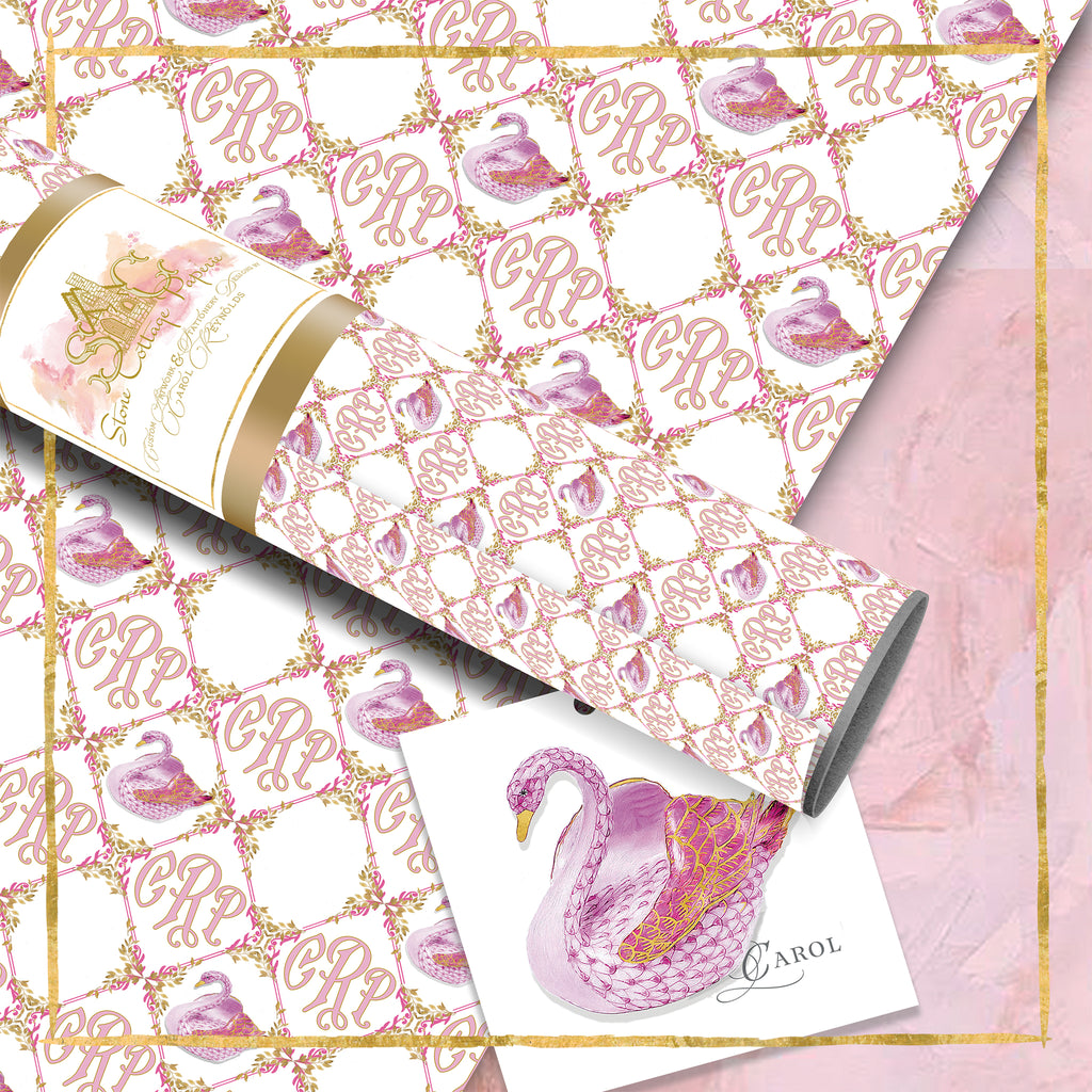 Monogrammed Summer Swan Wrapping Paper: Pink