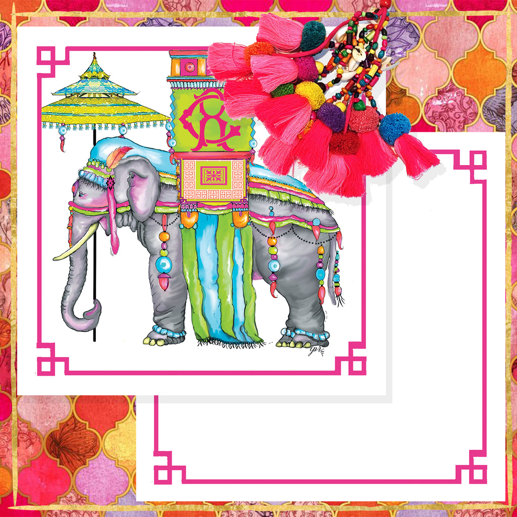 """The Pink Maharaja"" Notecards"