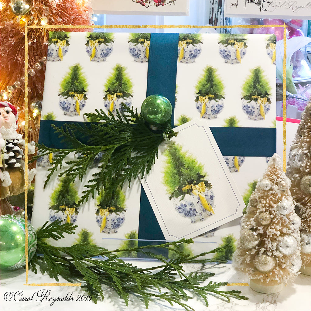 Lemon Cypress Christmas Wrapping Paper