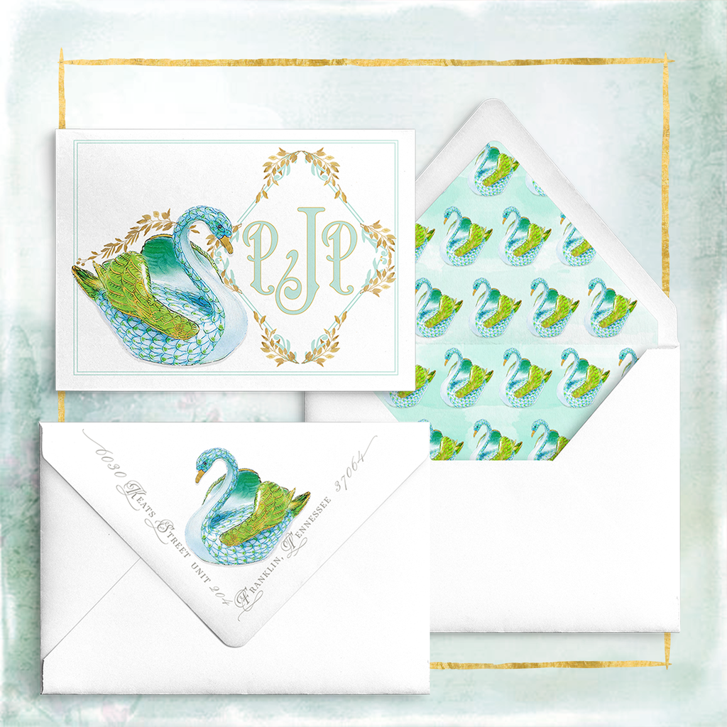 """Summer Swans"" Notecards in Aqua"