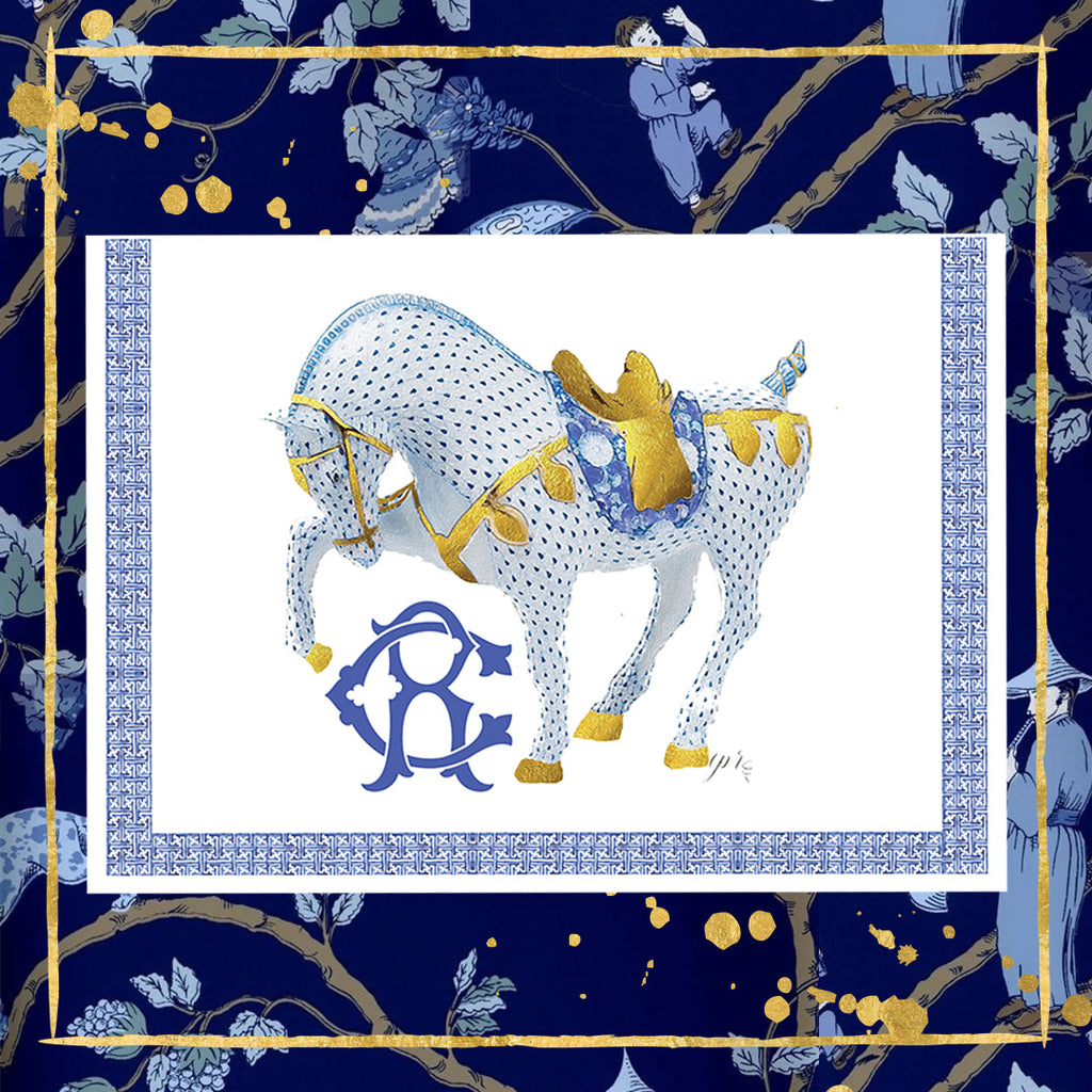 """Chinoiserie War Horse"" Notecards"