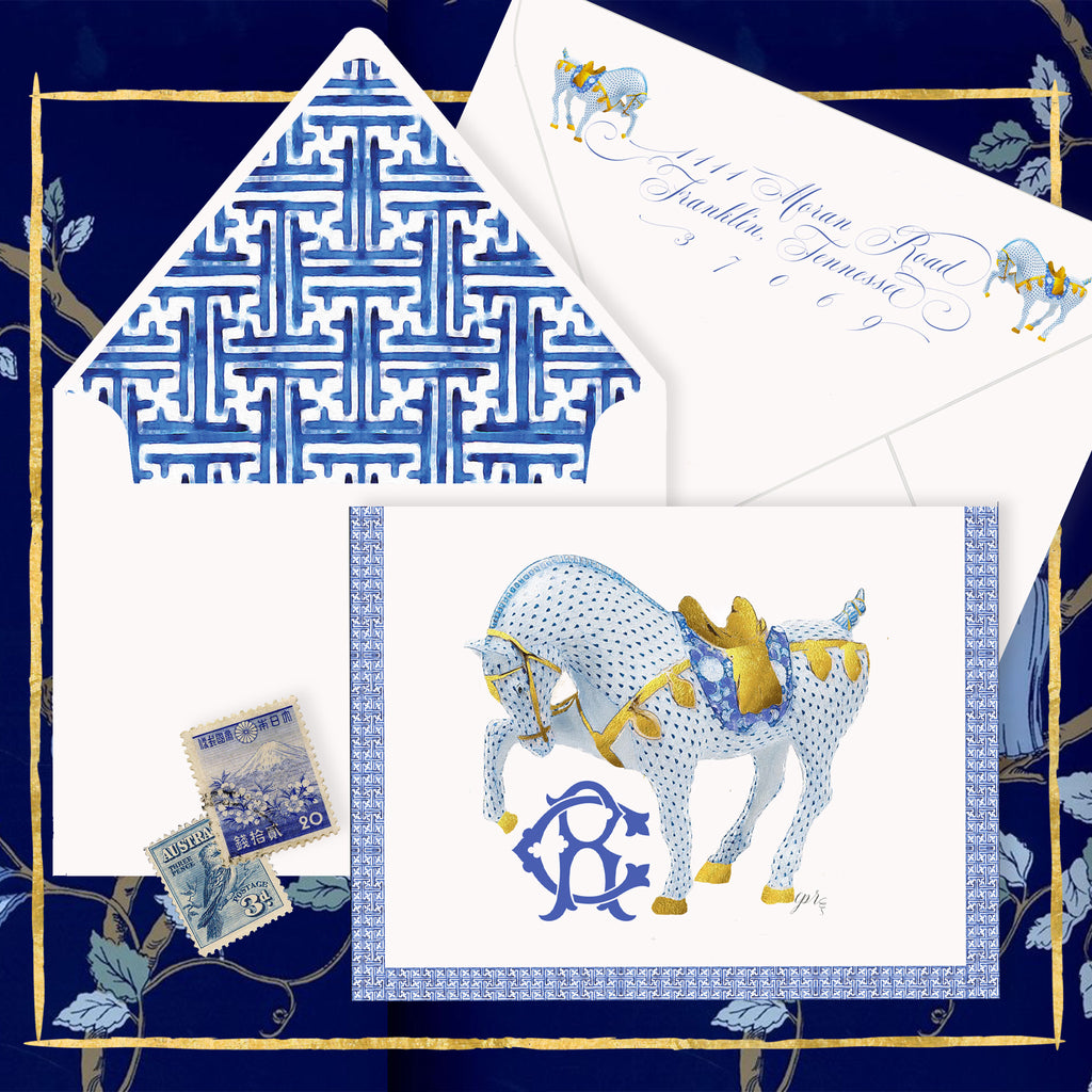 Chinoiserie War Horse Notecards