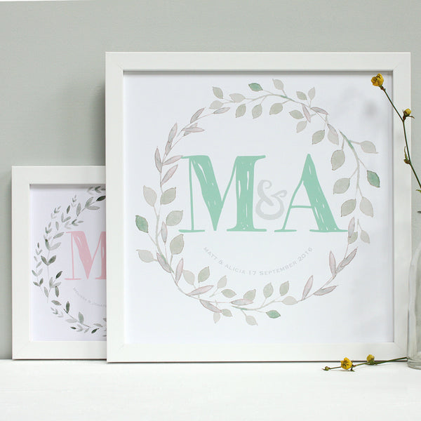 small and large white frames