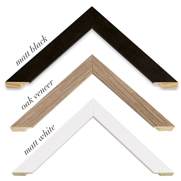 black, white and oak frames
