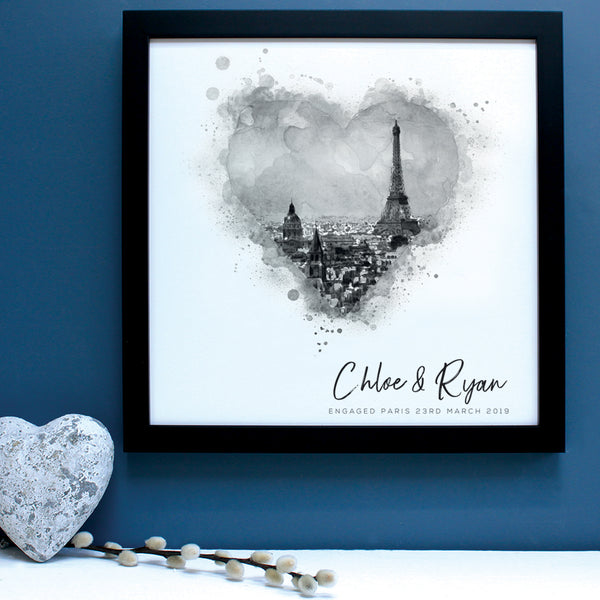 black and white illustration of paris in black frame