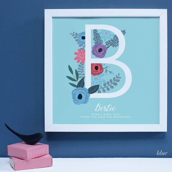 New Baby gift with flowers framed print with personalisation, in a white frame