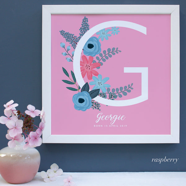 New Baby gift, white framed print with personalised names on pink background.