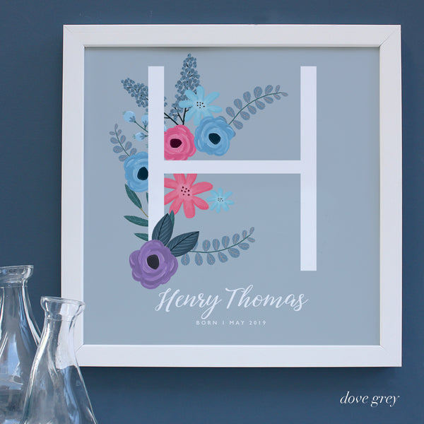 Large personalised H New Baby framed print  in a white frame.