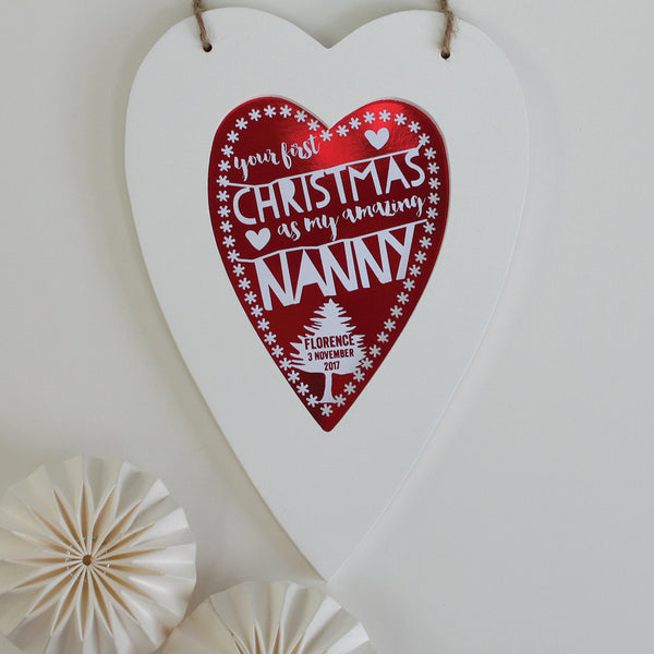 personalised first christmas nanny print, white heart