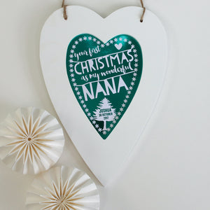 personalised first christmas nana print, white heart
