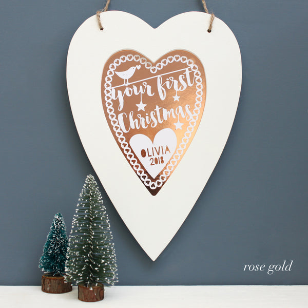 rose gold first christmas metallic heart, white frame